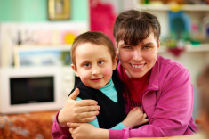 boy with caregiver